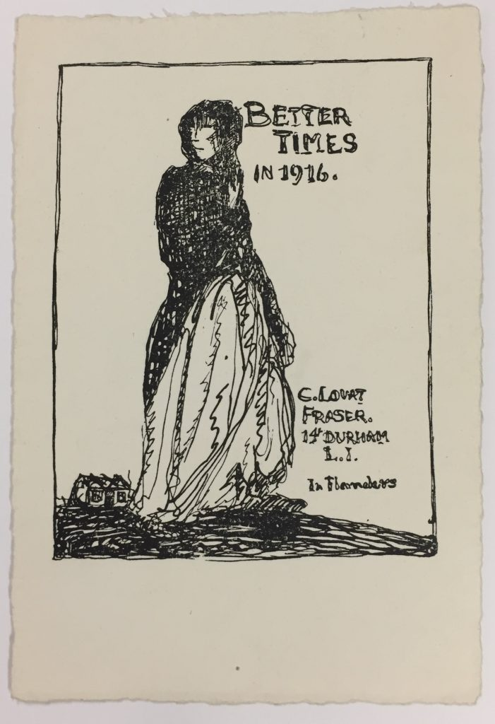 Claud Lovat Fraser, holiday greeting card, 1916, 72.20.17h