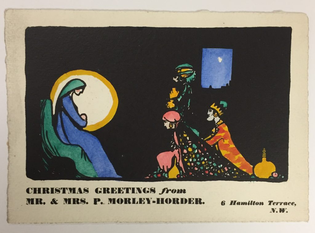Claud Lovat Fraser, holiday greeting card for Mr. and Mrs. P. Morley-Horder, ca. 1920, 74.20.17a