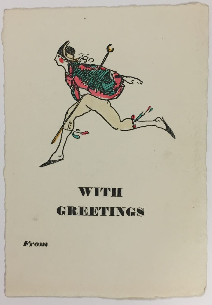 Claud Lovat Fraser, holiday greeting card, ca. 1912, 72.20.17d