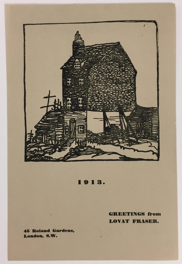 Claud Lovat Fraser, holiday greeting card, 1913, 72.20.17c