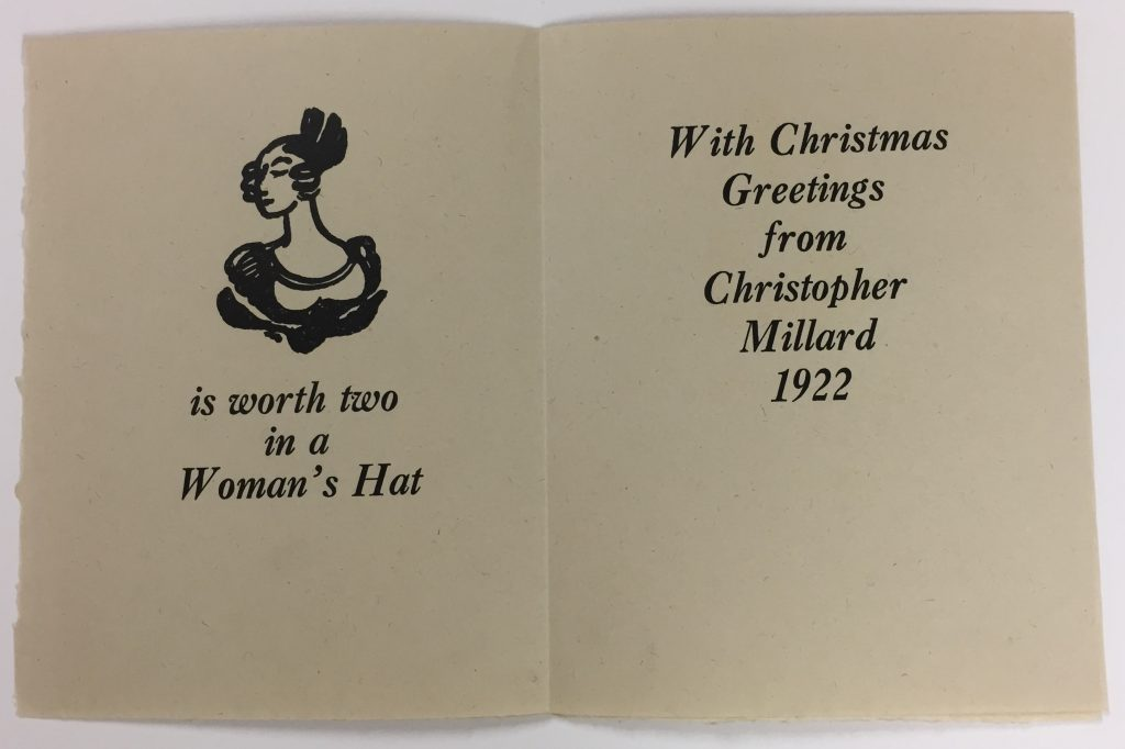 Inside of holiday greeting card for Christopher Millard with woodcut designs by Claud Lovat Fraser, 1922, 72.20.17j