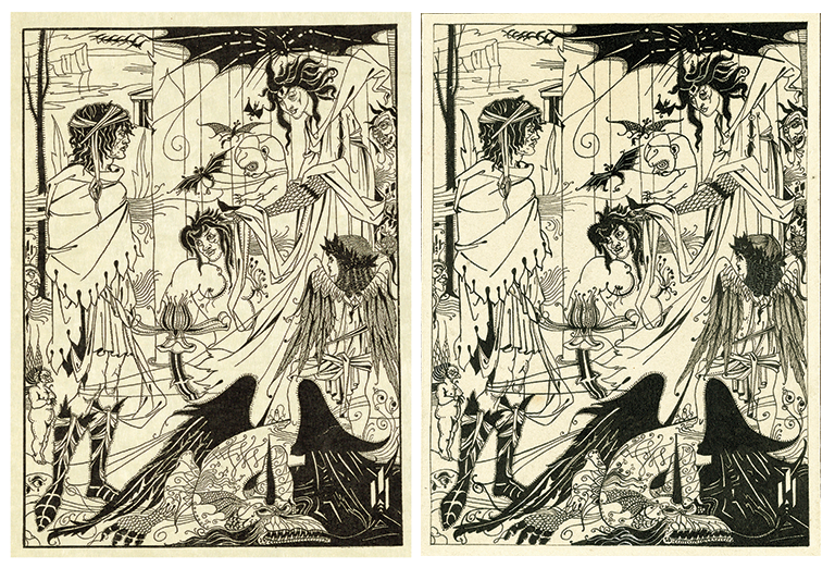 Forgery on the left and actual Beardsley drawing on the right