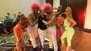 Carribean dance troupe with Karroll Kitt - courtesy of Karroll Kitt