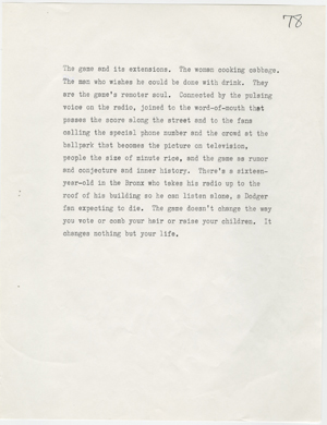 "A page from the first draft of Don DeLillo's ""Underworld."""