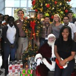 Student Activity Center Staff with Santa.