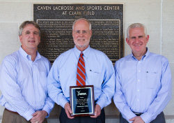Photo of Pete Schaack, Tom Dison and Eric Stoutner displaying Outstanding Sports Facility award