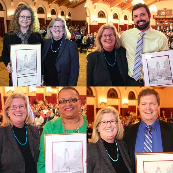 Staff Merit Award Winners Sherry Bell, Chris Burnett, Joanna Pope & Mark Zentner with Gage Paine