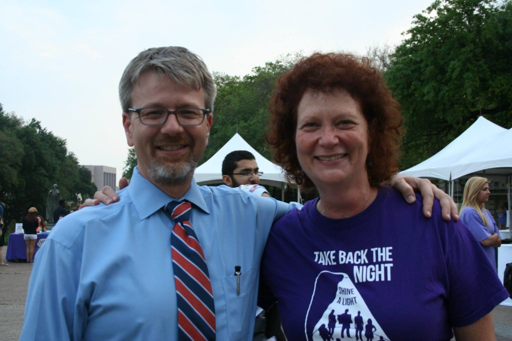 Chris Brownson, Director of CMHC, and Retired CMHC Associate Director Jane Bost at Take Back the Night on April 8th