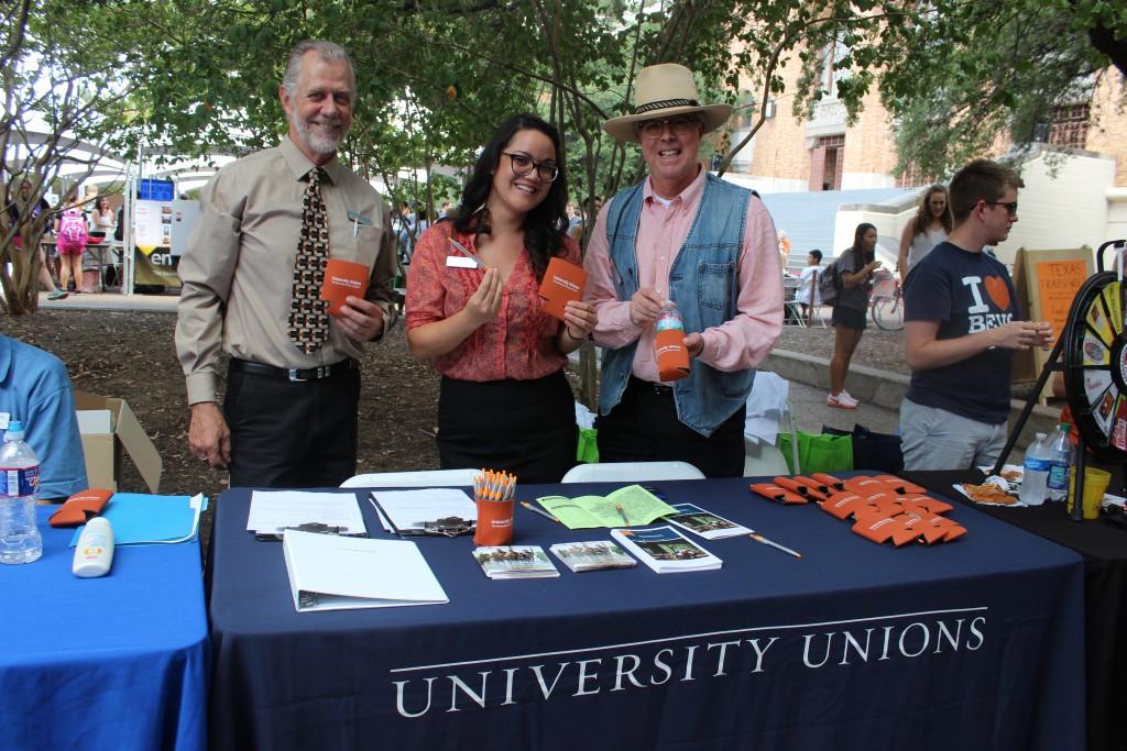 University Unions' Robert Moddrell, Lisa DelaCruz & Blake Justice at Party on the Plaza.