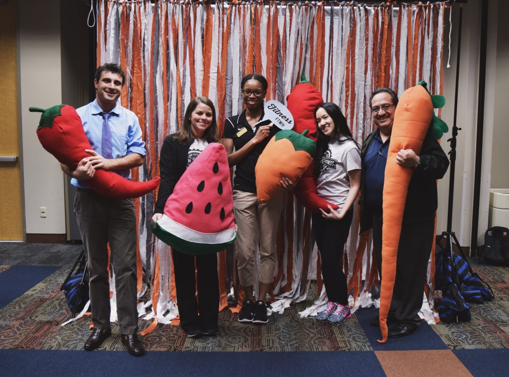 •William Mupo (University Health Services), Lindsay Wilson (Housing and Food Service), Chrystina Wyatt (Recreational Sports), Kathy Phan and Rene Rodriguez (Housing and Food Service) at the GoTX Health and Fitness Fair