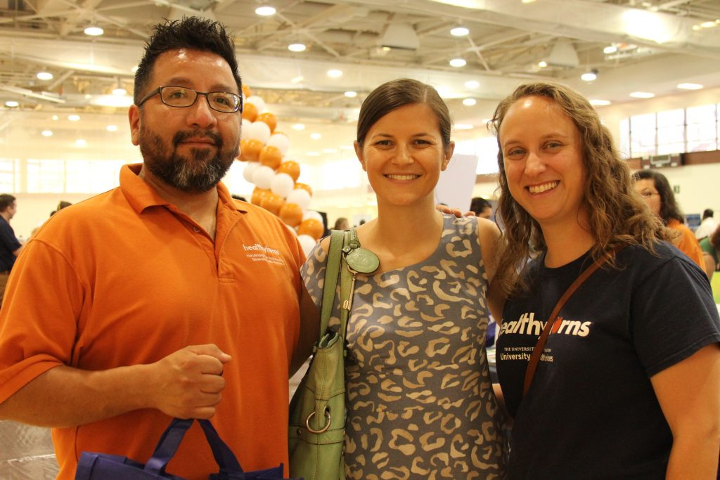 Andrew Mendoza (University Health Services), Marian Trattner (Counseling and Mental Health Center) and Susan Kirtz (University Health Services) at last year's Health and Lifestyle Expo.