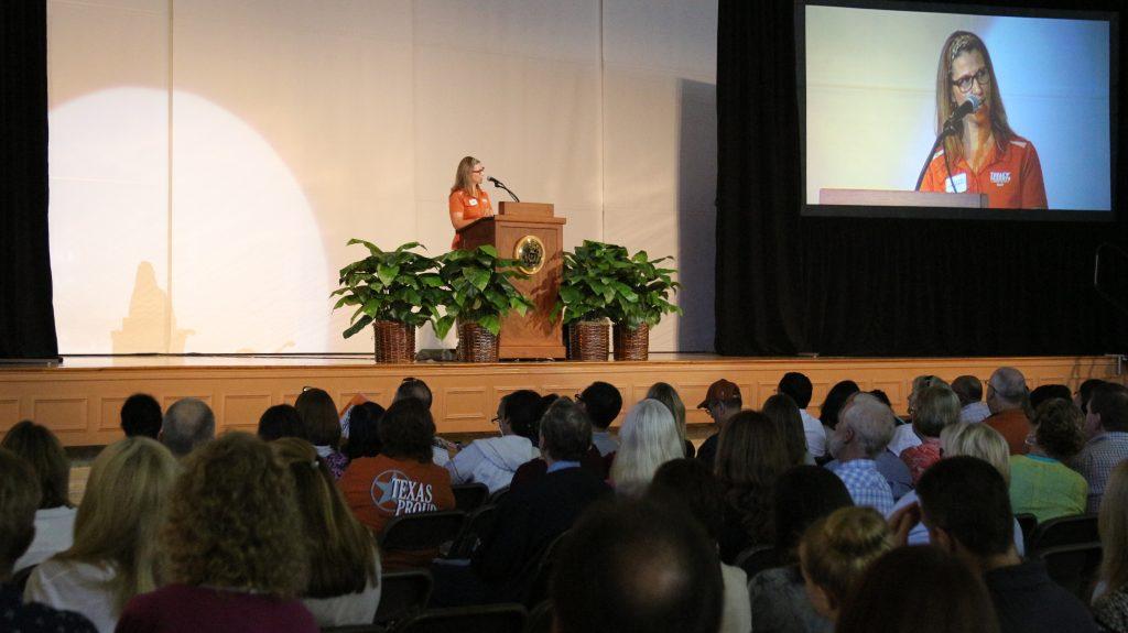 Adrienne MacKenzie (Texas Parents) speaks to families duringFamily Orientation.