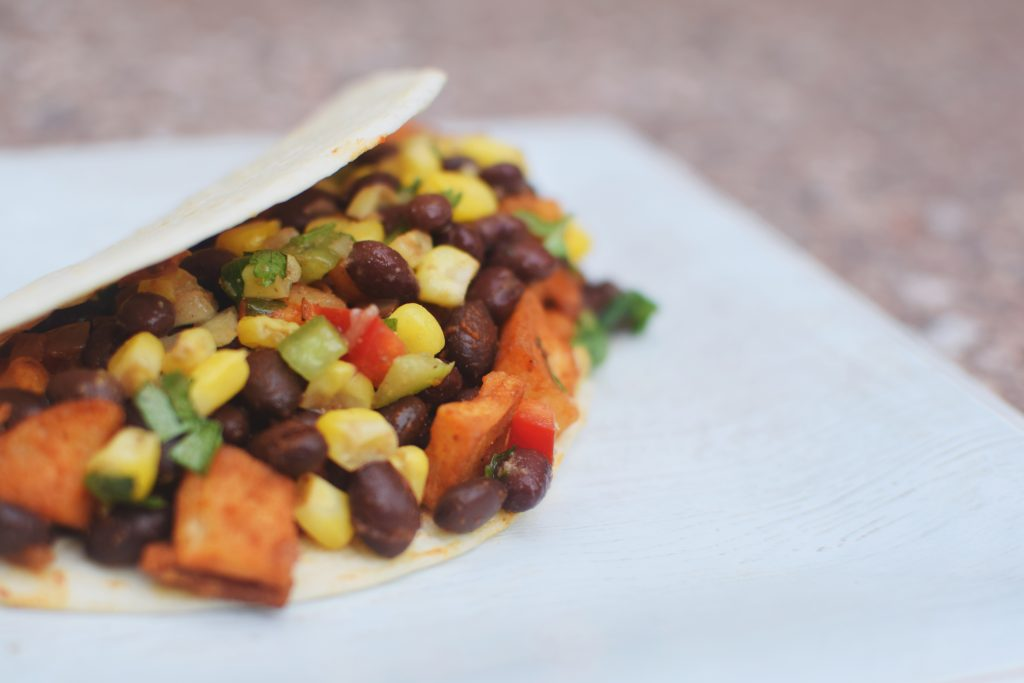 Sweet potato, kale and black bean taco created by Robert Mayberry (Housing and Food Service).
