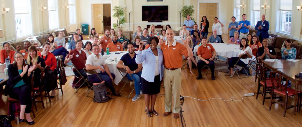 Office of the Dean of Students staff with Shaka Smart (front, right) at the annual retreat