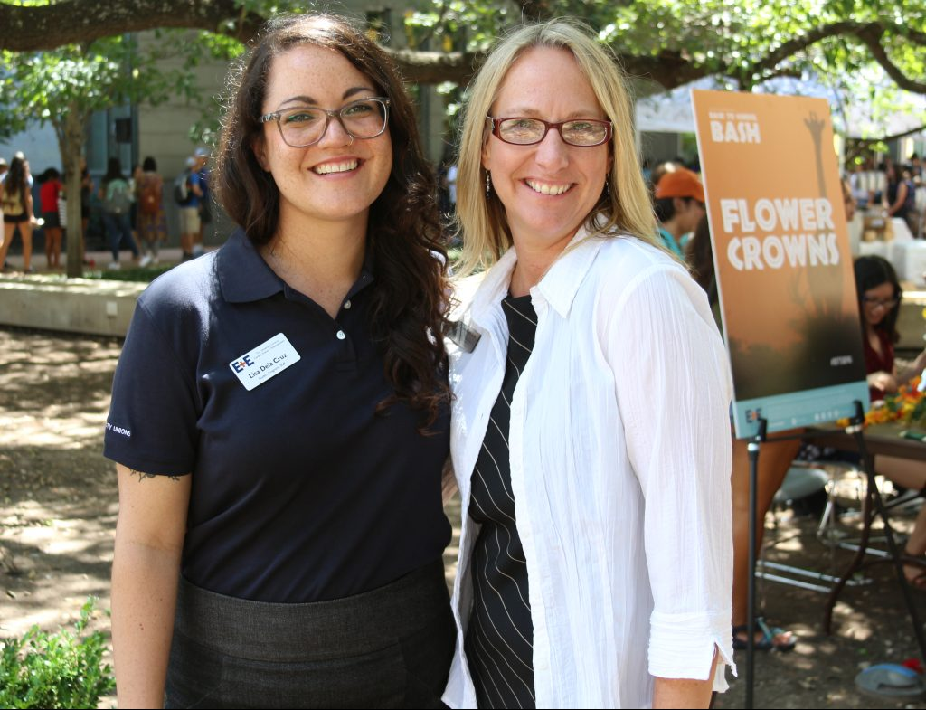 Lisa De La Cruz and Tracy Goodman at Back to School Bash outside the Student Activity Center
