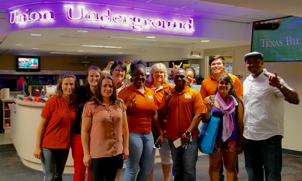The Student Conduct and Academic Integrity Team at the Office of the Dean of Students Retreat in the Union Undergroud: (left to right) Emily LaPlaca, Saralyn McKinnon-Crowley, Brittany Williamson, Melissa Wommack, Adalyn Burger, Cynthia Aranda, Derek Bell, Kia Hill, Robert Leary, Vanessa Serrano and Adel Fils-Aime.