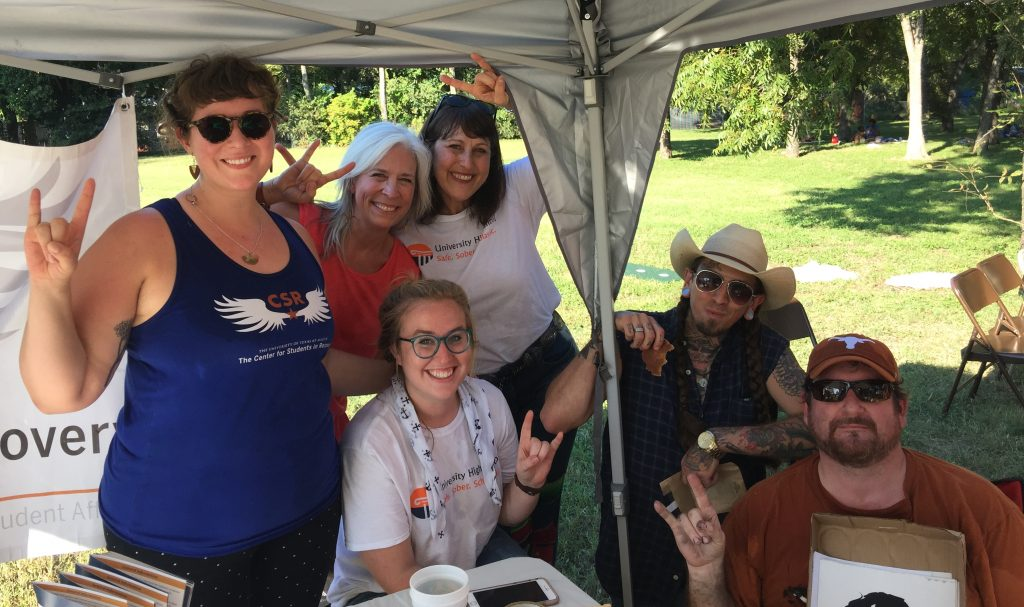 (clockwise from left) Sierra Castedo (The Center for Students in Recovery), Julie McElrath, Lori Holleran Steiker and Jon Mackenzie (University High School), John Harris (The Center for Students in Recovery) and Katie Medlin (University High School) at the Recovery in the Park festival