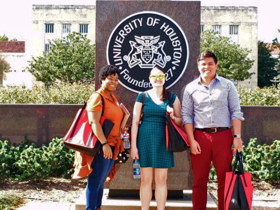 Kia Hill, Saralyn McKinnon-Crowley and Robert Leary at the University of Houston