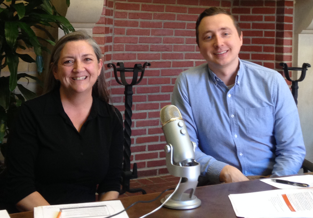 Susie Smith and Jeff Mayo (School of Undergraduate Studies) conduct a webinar in the Gregory Gym board room.