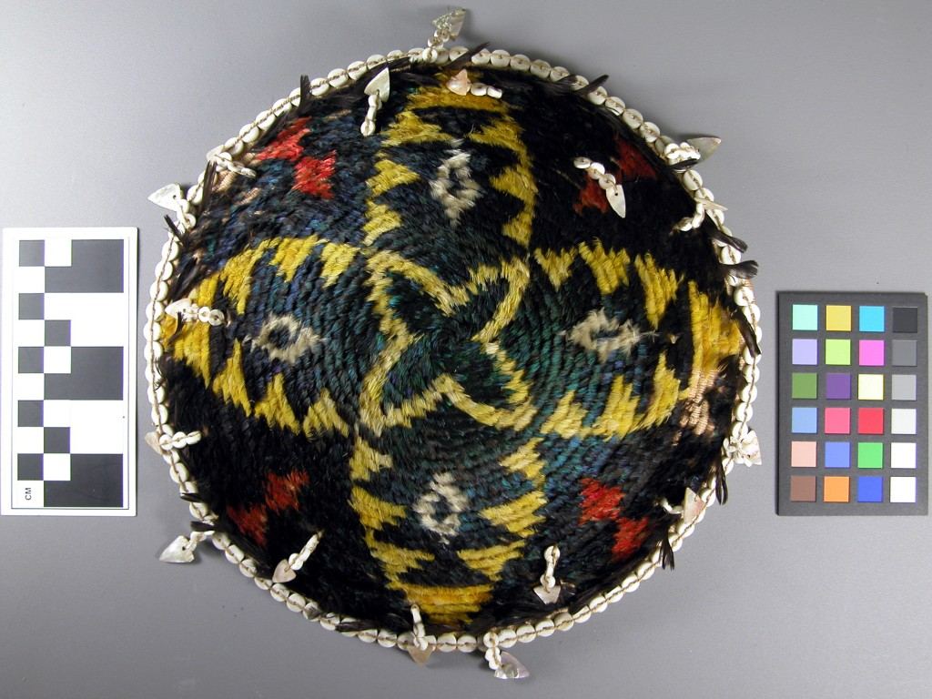 A feathered hat attributed to the Pomo of California; ethnographic collection.  Paul Seashore, collector.
