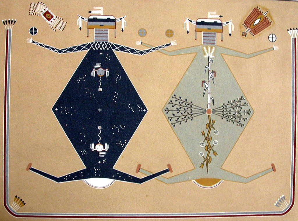 Navajo Sand Painting Mother Earth Light And Father Sky