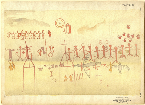 Kirkland's rendering of the 100-foot long panel at Myers Springs in far western Terrell  County  includes numerous details which have since been obliterated. The paintings include expressions in early Pecos River style to depictions at the time of contact with Europeans.
