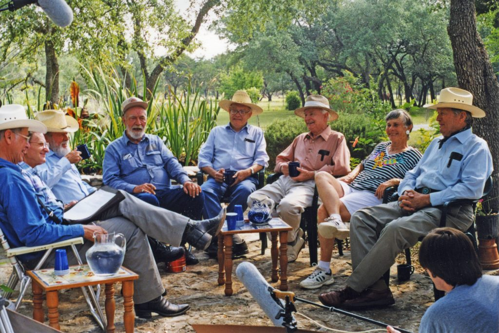 Pioneers in Texas archeology (left to right): Michael Collins, Jerry Epstein, Curtis Tunnell, Jack Hughes, Ernie Lundelius, Ed Jelks, Dee Ann Story, and Glen Evans.