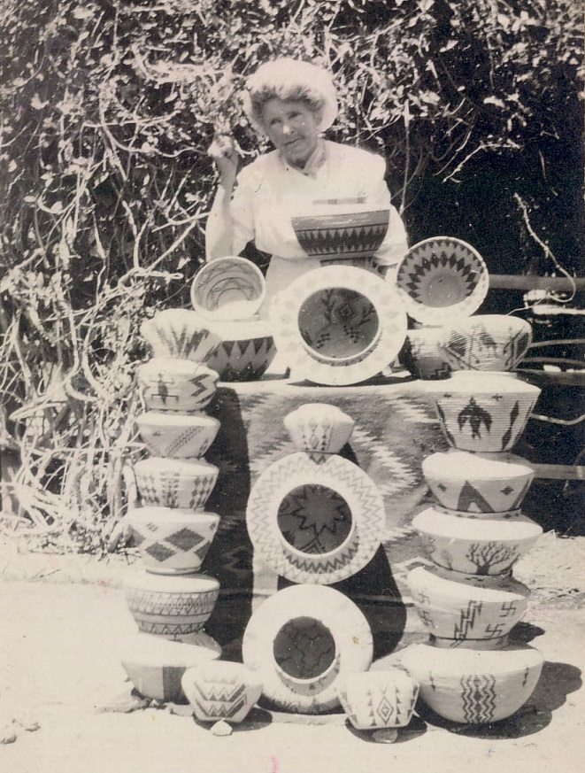 Helen Stewart with some of her basket collection. Two of the baskets shown here are now in the TARL collections.