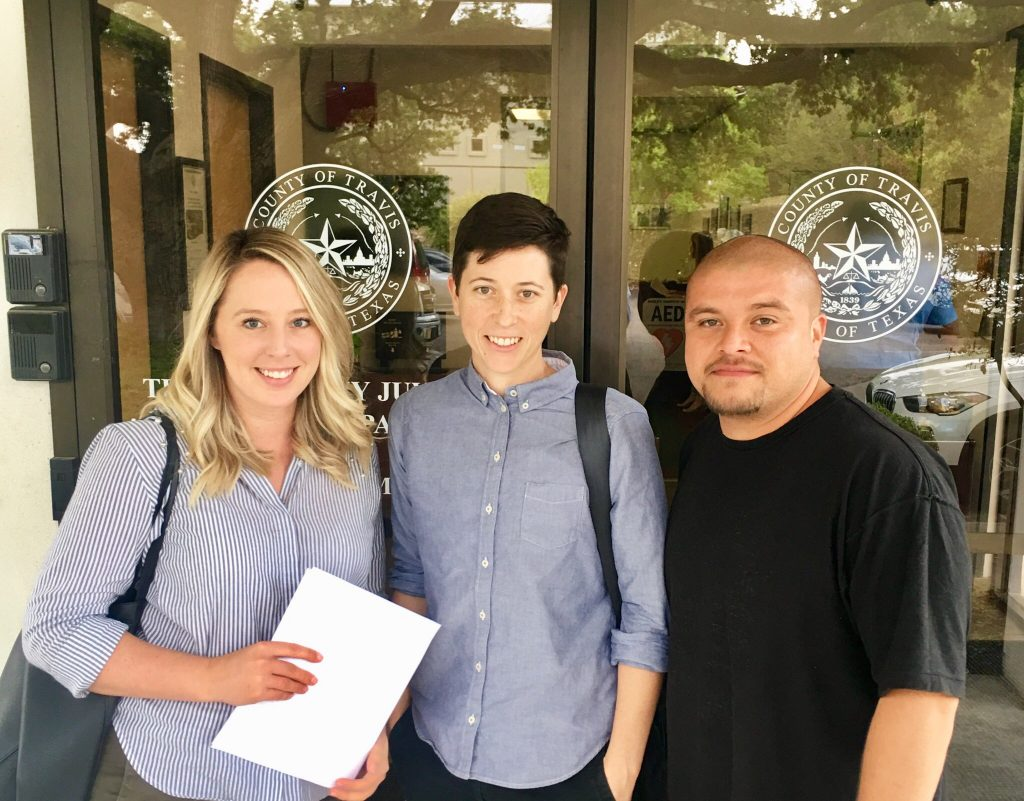 Sarah Brayne, Lindsay Bing, and Armando Tellez on the first day of class at Gardner Betts, Fall 2018
