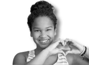 Girl making heart sign