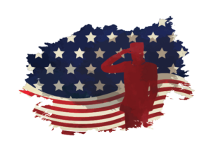 An illustration of a flag and a soldier