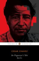 Book cover for An Organizer's Tale : Speeches by Cesar Chavez, featuring a photograph of Cesar Chavez