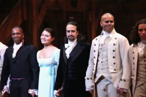 Picture of Hamilton cast, featuring Leslie Odom Jr, Phillipa Soo, Lin-Manuel Miranda, and Christopher Jackson