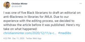 Tweet by Christian Minter dated December 11, 2020 at 4?32 PM