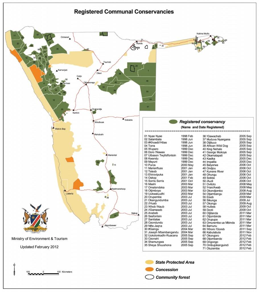 Namibia conservancies map