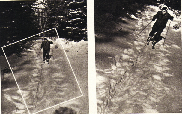 How to achieve the appropriate copping technique, a tutorial for amateur photographers E. Volkov, Skiing, black-and-white photographs, Sovetskoe foto, no. 1 (January 1959)