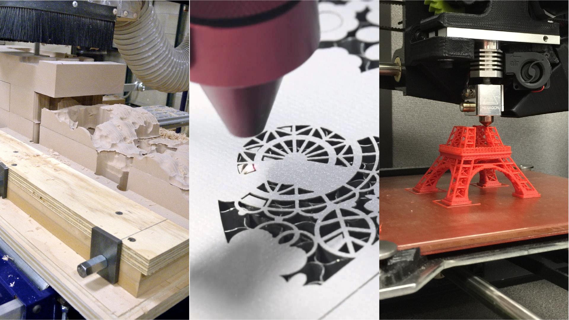 laser cutter, shop bot, 3D printing