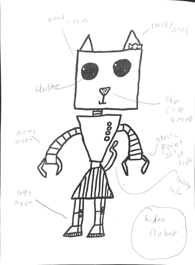 Drawing of a robot cat with parts labeled