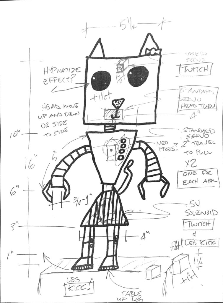 Drawing of a robot cat with measurements