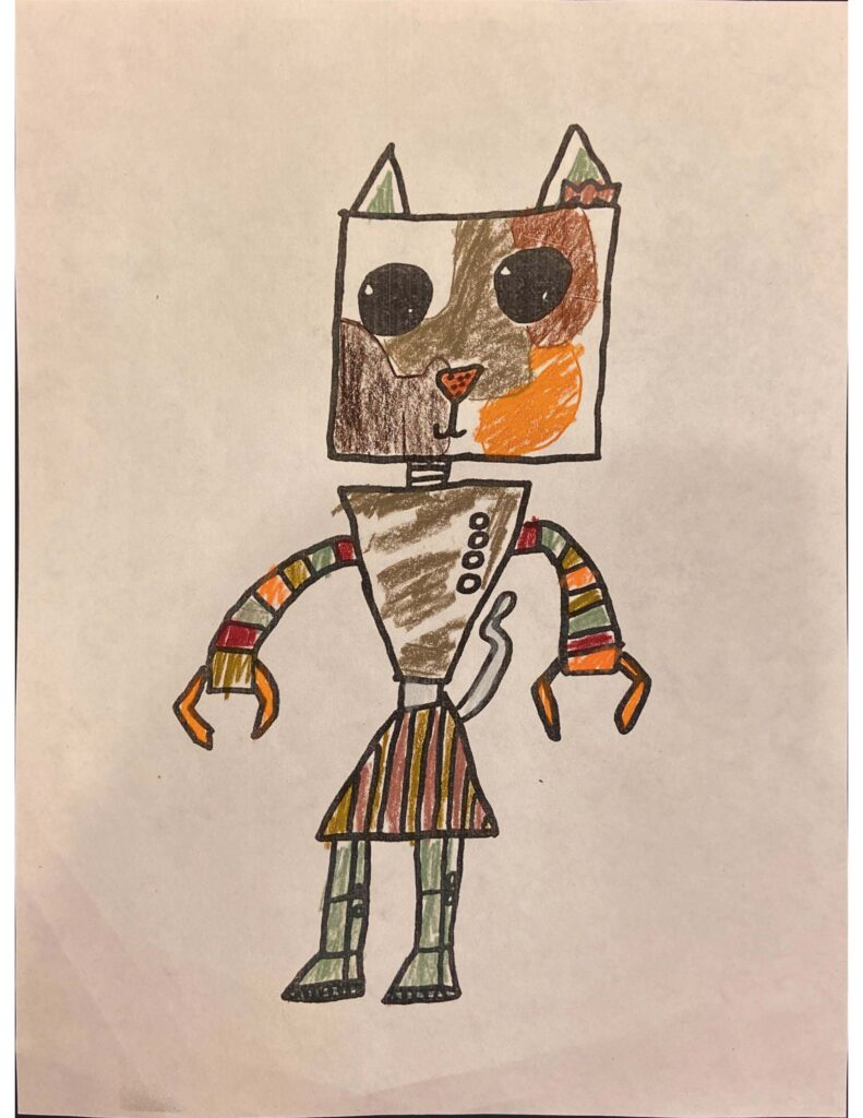 Drawing of a robot cat