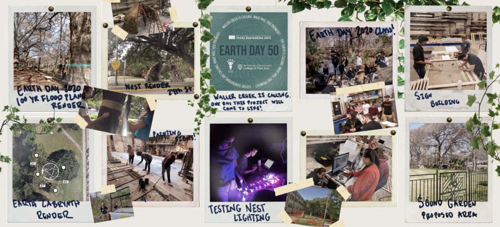 Collage of polaroid pictures of Earth Day activities