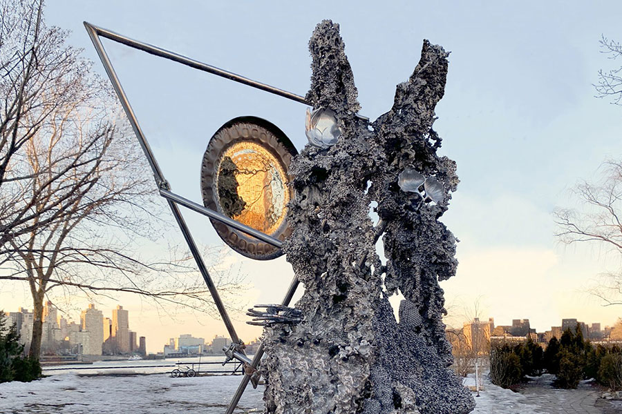 metal sculpture in park