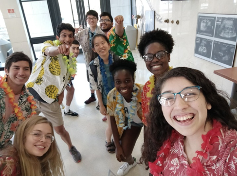 students in hawaiian shirts
