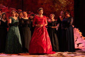 Tatyana sings surrounded by a chorus of women