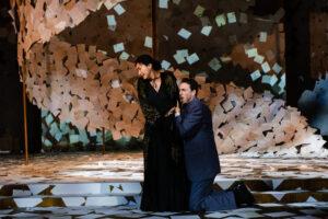 Tatyana pushes away a kneeling Onegin