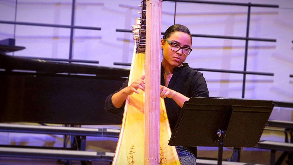 """Mallory McHenry performs her arrangements of Betty Jackson King's """"Four Seasonal Sketches for Harp""""."""