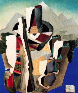 Cubist painting with Mexican revolutionary motifs