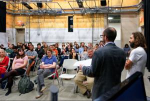 "Nicolás Pereda speaking at ""Latitude"" Department of Radio, Film, and Television, UT Austin. Photo by Charles Ramírez Berg"