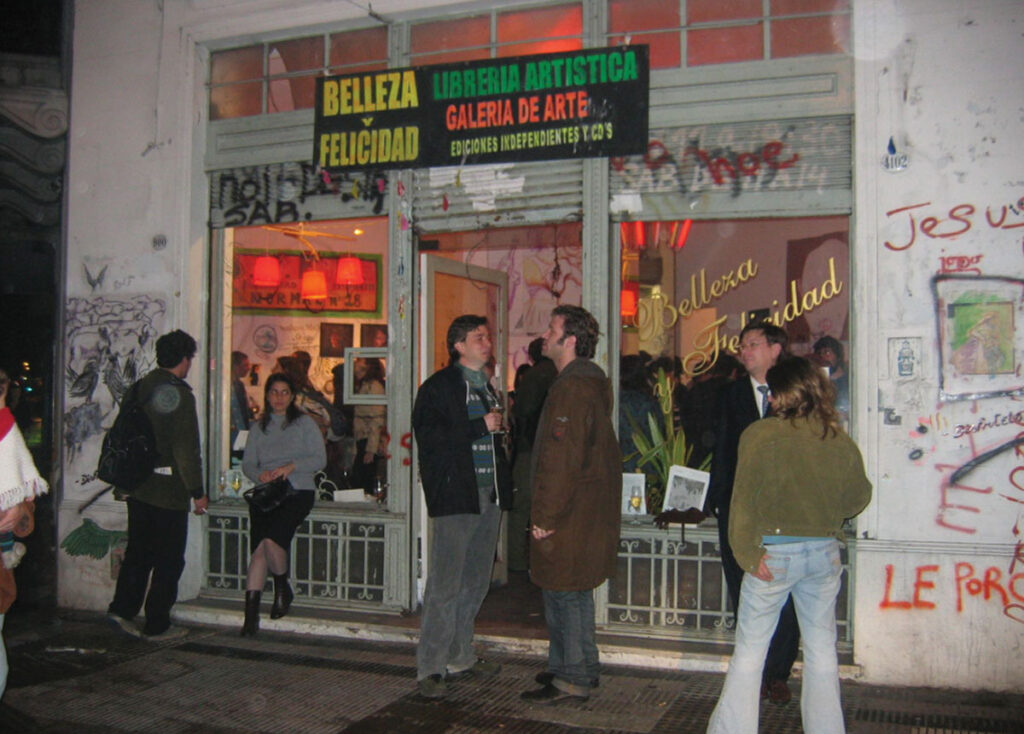 Photograph of storefront in Buenos Aires hosting exhibition