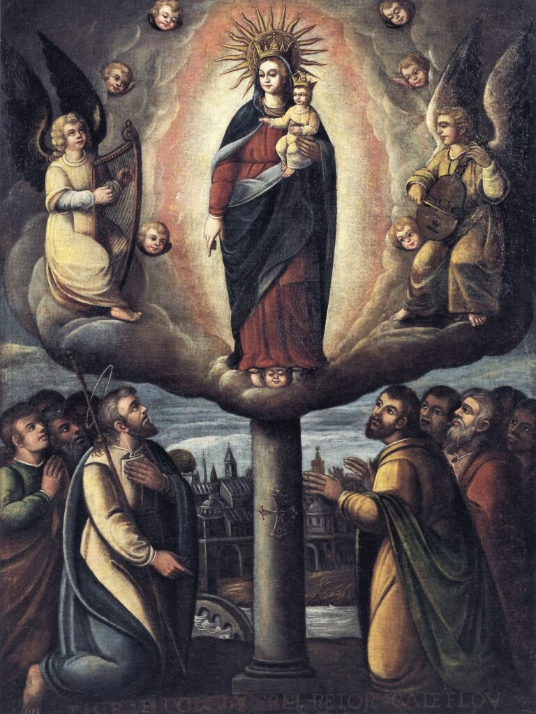 Spanish colonial painting depicting Virgin Mary